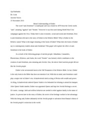 Essay on Esther-Moral Understanding
