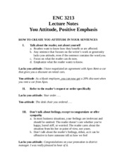 FAU ENC 3213 Lecture Notes 4 - Your Attitude and Positive Emphasis
