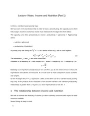 Lecture 4 Notes Income and Nutrition Part 1
