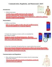 1 - Communication Regulation and Homeostasis To complete this ...