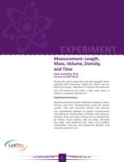 42-0267-00-02-EXP, Measurement-Length, Mass, Volume, Density and Time
