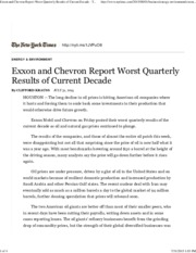 Exxon and Chevron Report Worst Quarterly Results of Current Decade - The New York Times