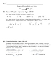 Algebra 1 Chapter 8 study guide