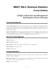 MNGT 368 Syllabus pdf - MNGT 368-2 Business Statistics