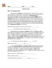Dna The Double Helix Coloring Worksheet Answers - Templates and ...