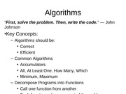 5.5 Common Algorithms