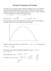 Parametric Equations and Calculus Notes
