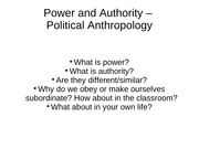 Power and Authority – Political Anthropology
