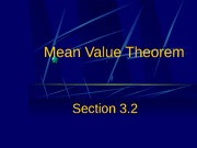 3.2 Mean Value Theorem