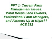 PPT 1  Ag Economic Issues Power Point With Answers