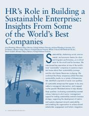 HRs Role In Sustainability