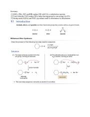 Chapter9keyideas Summary Williamson Ether Synthesis Alcohol