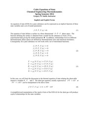 CH E 310 Guide to the Cubic Equations of State