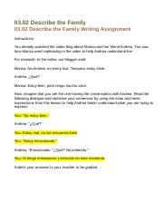 03.02 describe the family writing assignment