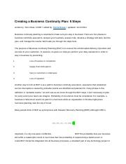 Business Continuity Plan Draft