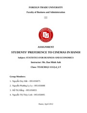 Students' Preference to cinemas in Hanoi - Group 12 - Wed class