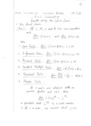 Lecture Notes 2.02 Calculating Limits Using the Limit Laws