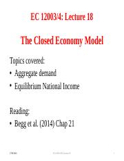 Lecture 18 The Closed Economy Model(1)