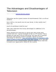The Advantages and Disadvantages of Television.docx