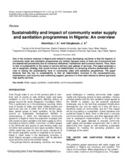 impact of community water supply in nageria