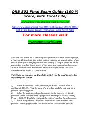 QRB 501 Final Exam Guide (100 % Score, with Excel File).doc