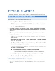 PSYC 100 - Chapter 1