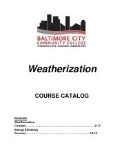 Weatherization Course Catalog A171 FINAL