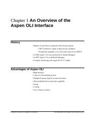 An Overview of the Aspen OLI interface