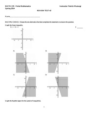 Math 170 Test 2 Study Guide
