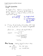 IB CHEM 11 Length Contraction and Mass Increase Notes