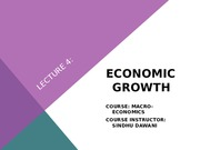 LECTURE 4 - ECONOMIC GROWTH