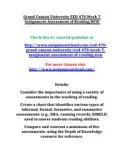 Grand Canyon University EED 470 Week 7 Assignment Assessment of Reading NEW.doc