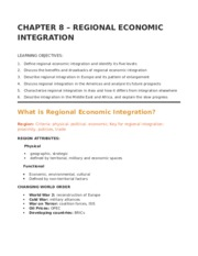CHAPTER 8 – REGIONAL ECONOMIC INTEGRATION