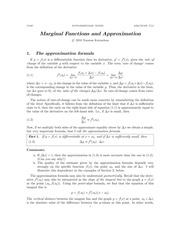 Chapter 5: Approximation and Marginal Functions