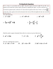 Problem Set on Quadratics