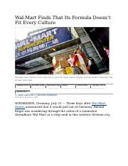 ARTICLE Wal-Mart Finds That Its Formula Doesn't Fit Every Culture.docx