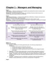 Study Guide - Chapter 1 - Managers and Managing