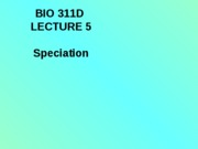 Lecture 5 Speciation posted