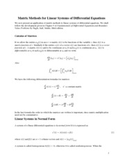 Matrix Methods for Linear Systems of Differential Equations