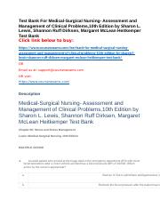 Test Bank For Medical-Surgical Nursing- Assessment and Management of Clinical Problems,10th Edition