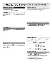 MATH 12 Exponent and Logs Worksheet 1 Solutions