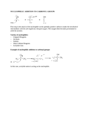NUCLEOPHILIC ADDITION TO CARBONYL GROUPS