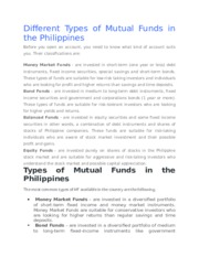 Different Types of Mutual Funds in the Philippines