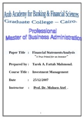 MBA Research F.S.A & Investment