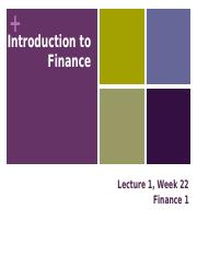 FINANCE 1 Week 22 Lecture 1 Introduction.pptx