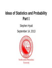 L01 Ideas of Statistics and Probability 20130914