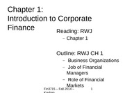 Finance Chapter 1