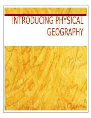 Lecture 1-Intro to Physical Geography