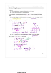 3.3 Completing the Square