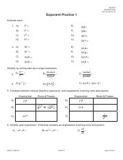 Exponent Practice 1 KEY - Algebra 2 HS Mathematics Unit 08